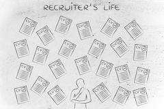 Doubtful recruiter surrounded by lots of resumes Stock Illustration