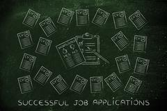 Shortlist document surrounded by lots of resumes Stock Illustration