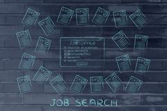 Job offer surrounded by lots of resumes Stock Illustration