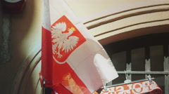 Polish flag at a Souvenir shop Stock Footage
