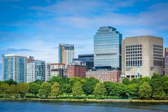 The Charles River and buildings in the West End, in Boston, Massachusetts. Stock Photos