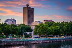 View of the Charles River and  buildings at the Massachusetts Institute of Te Stock Photos