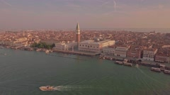 Drone aerial flying over Grand Canal with spectacular view of Venice Stock Footage