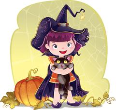 Illustration for Halloween with a little cute witch, cat and pumpkin. Stock Illustration