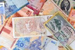 Currency of various countries Stock Photos