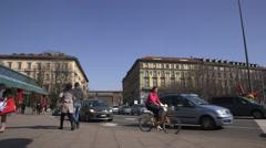 Street Shot in Milan, Sforza castle in background Stock Footage
