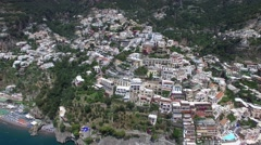 Aerial View of Positano, Amalfi Coast, Italy Stock Footage