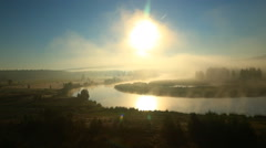 Early summer morning. Fog over the water, glistening webs Stock Footage