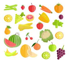 Set of Fruits Vegetables Vector Illustration Stock Illustration