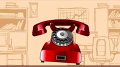 Animation caller red retro phone on office background Stock Footage