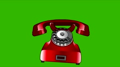 Animation caller red retro phone Stock Footage