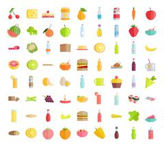 Big Collection of Food Concepts in Flat Design Stock Illustration