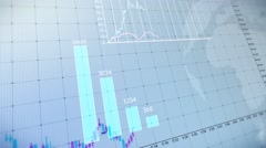 Bar graph of stock exchange market indices animation. - stock footage