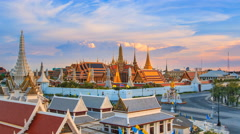 Wat Phra Kaeo Famous Landmark Temple Of Bangkok City, Thailand High Angle View Stock Footage