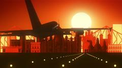 Kolkata India Landing Skyline Golden Background Stock Footage