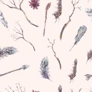 Vintage seamless pattern with branches - stock illustration