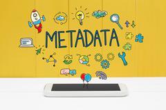 Meta Data concept with smartphone Stock Photos