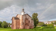 Old Church at Yaroslav's Court in Veliky Novgorod Stock Footage
