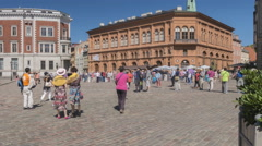 RIGA, LATVIA - Timelapse view to Riga Bourse and Dome Square Stock Footage