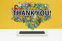Thank you concept with smartphone Stock Photos