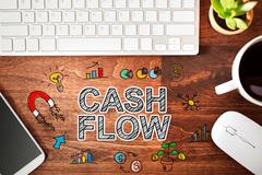 Cash Flow concept with workstation Stock Photos