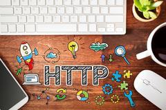 Http concept with workstation Stock Photos