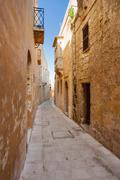 Ancient narrow street in Mdina, old capital of Malta. Stock Photos
