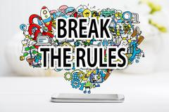 Break The Rule concept with smartphone Stock Photos