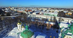 Aerial view of the Church of the Entry into Jerusalem,Yaroslavl, Russia. Stock Footage