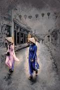 Two unidentified asian tourists - stock illustration
