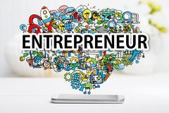 Entrepreneur concept with smartphone Stock Photos