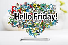 Hello Friday concept with smartphone Stock Photos