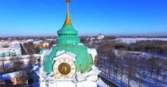 Aerial panoramic view of the belfry (1808) with clocks on it. Yaroslavl, Russia. - stock footage