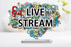 Live Stream concept with smartphone Kuvituskuvat