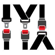 Safety seatbelt icon - diagonal and straight line Stock Illustration