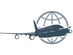 Travel around the globe - flying airliner Stock Illustration