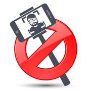 Selfie not allowed - prohibitory sign with stick selfie and smartphone - stock illustration