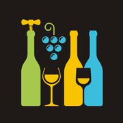 Row of wine bottles with corkscrew, wineglass and bunch of grapes Stock Illustration
