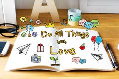 Do All Things with Love concept with notebook Stock Photos