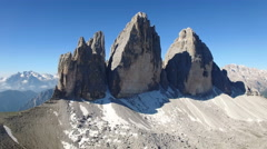 The famous peaks in the Tre Cime Park Stock Footage