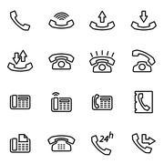 Vector line telephone icon set Stock Illustration