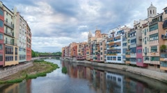 Clouds over the river Onyar in Girona Stock Footage