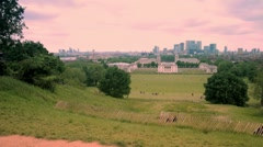 Panoramic skyline view of Greenwich and national maritime museum and skyscrapers Stock Footage
