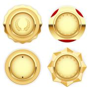 Golden medal and emblem (insignia) - cogged and round Stock Illustration