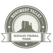 Monument Valley stamp - Navajo Tribal Park embelm Stock Illustration
