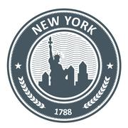New York stamp with Statue of Liberty Stock Illustration