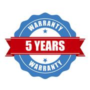 Five years warranty seal - round stamp Stock Illustration