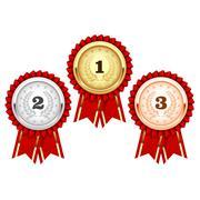 Silver, bronze and golden medals  - award rosette Stock Illustration