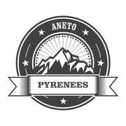 Pyrenees Mountains - Aneto peak round stamp Stock Illustration