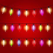 Christmas Lights - carnival electric bulbs strung Stock Illustration